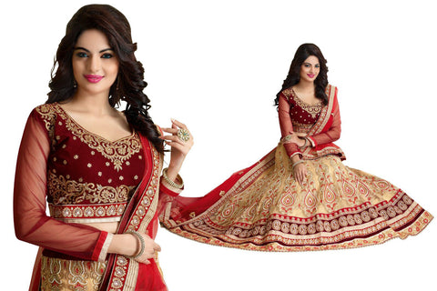 Women's Pretty Circular Lehenga Style in French Beige Color With Lace Work Dupatta