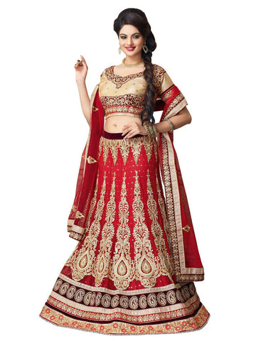 Women's Red Color Pretty Lehenga Choli With Stones Work In Traditional Look