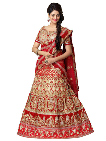 Women's Net Fabric & French Beige Color Pretty A Line Lehenga Style With Resham Work Dupatta