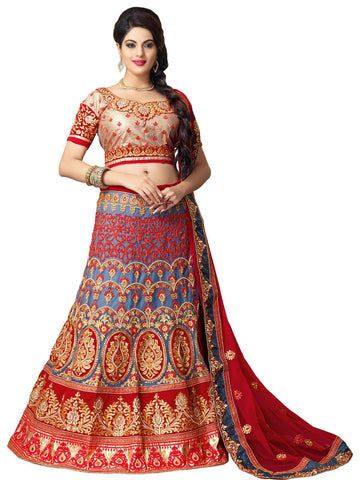 Women's Pretty A Line Lehenga Style in Steel Blue Color With Lace Work Dupatta