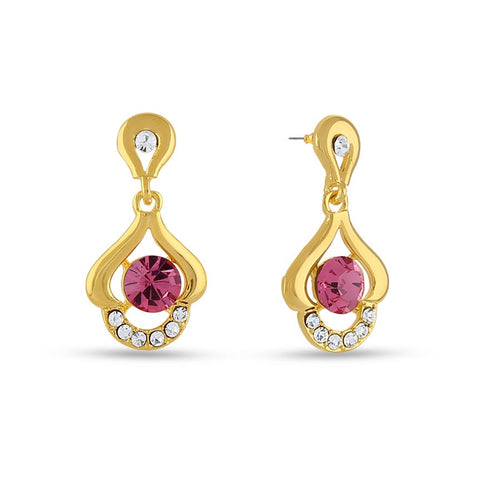 Perfect look Pink & Silver Precious Jewellery Earrings