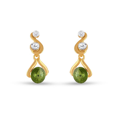 Perfect look Green & Gold Precious Jewellery Earrings
