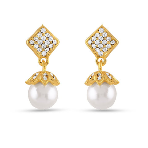 New Look White & Gold Precious Jewellery Earrings For Women's