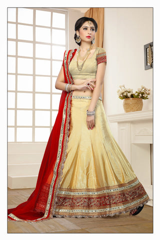 Women's Art Silk Fabric & Beige Color Pretty Mermaid Cut Lehenga Style