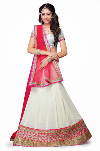 Women's Chiffon Fabric & White Color Pretty Mermaid Cut Lehenga Style