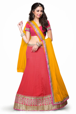 Women's Chiffon Fabric & Salmon Color Pretty Mermaid Cut Lehenga Style With Crystals Work Dupatta