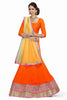 Women's Chiffon Fabric & Orange Color Pretty Mermaid Cut Lehenga Style