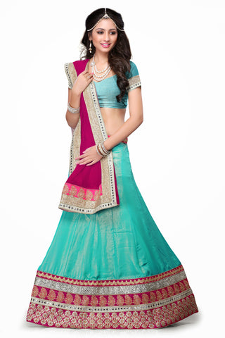Women's Chiffon Fabric & Green Color Pretty Mermaid Cut Lehenga Style