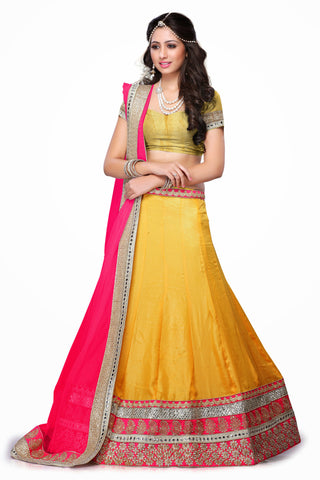 Women's Chiffon Fabric & Yellow Color Pretty Mermaid Cut Lehenga Style