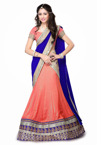 Women's Chiffon Fabric Pretty Mermaid Cut Lehenga Choli