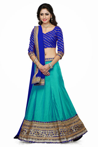 Women's Art Silk Fabric & Turquoise Color Pretty A Line Lehenga Style