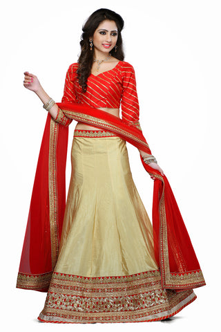 Women's Art Silk Fabric & Beige Color Pretty A Line Lehenga Style