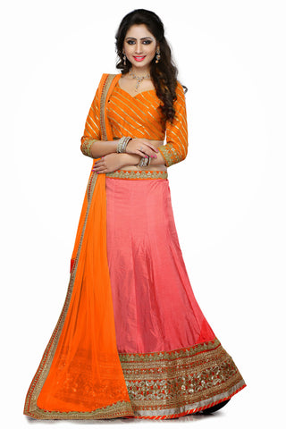 Women's Art Silk Fabric & Pink Color Pretty A Line Lehenga Style