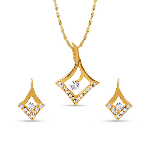 Perfect Look In Golden Color Pendant Set