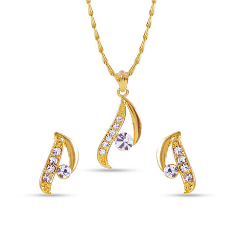 Women's Art Golden Color Precious Jewellery Pendant Set