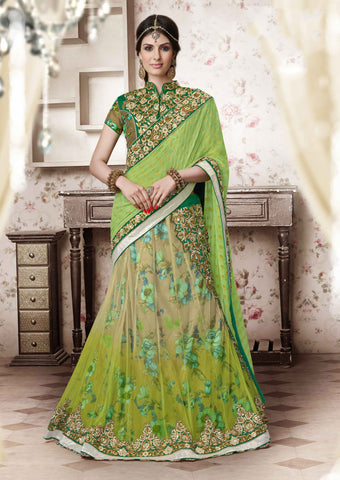 Women's Pretty A Line Lehenga Style in Parrot Green & Dark Cream Color With Crystals Work Dupatta
