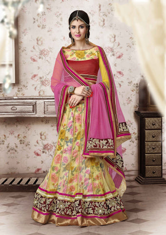 Women's Yellow Color Net Fabric Pretty Unstitched Lehenga Choli With Resham Work Dupatta