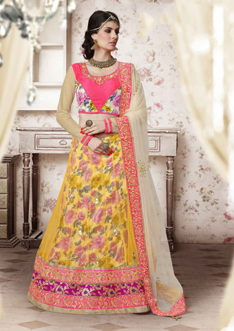 Women's Yellow Color & Brocade Fabric Pretty Unstitched Lehenga Choli