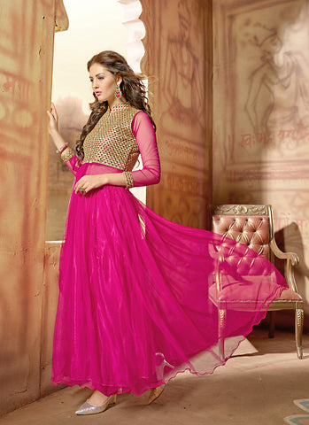 Women's Beautiful Net Fabric Pink Color Unstitched Gown