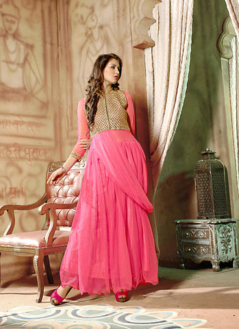 Attractive Net Fabric Pink Color Unstitched Gown
