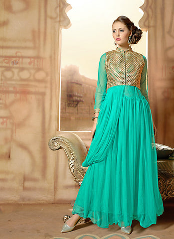 Attractive Turquoise Color Net Unstitched Gown