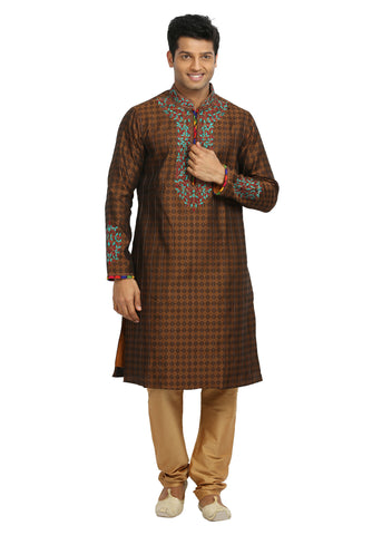 Exquisite Brown Silk Readymade Kurta For Mens