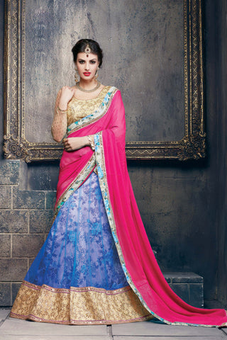 Women's Azure Blue Color Pretty A Line Lehenga Style With Lace Work Dupatta