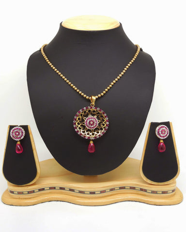 Women's Art Pink & Off White Color Fashion Jewellery Pendant Set