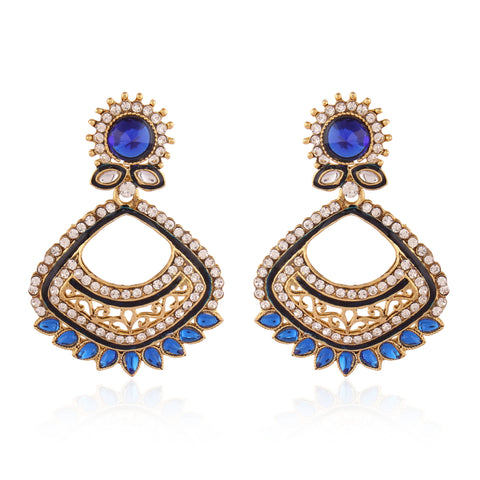 Designer & Heavy Collection In Artificial Jewellery of Earrings In Blue, White & Gold