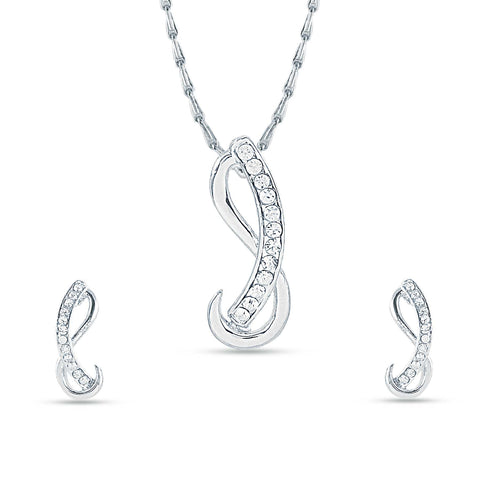 Pretty Silver Color Pendant Set