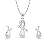 Perfect look Silver Color Precious Jewellery Pendant Set