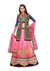Women's Chiffon Fabric & Rose Pink Color Pretty A Line Lehenga Style With Stones Work Dupatta