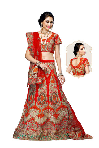 Women's Silk Fabric & Red Pretty A Line Lehenga Style