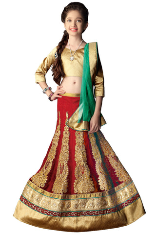 Girl's Maroon Lycra Fabric Striking Unstitched Lehengha Choli In Traditional Look