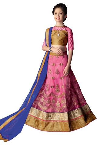 Girl's Rose Pink Net Fabric Striking Unstitched Lehengha Choli In Traditional Look