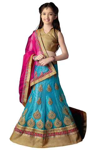 Girl's Sky Blue Net Fabric Striking Unstitched Lehengha Choli In Traditional Look