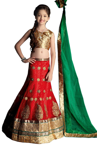 Girl's Deep Scarlet Net Fabric Striking Unstitched Lehengha Choli In Traditional Look