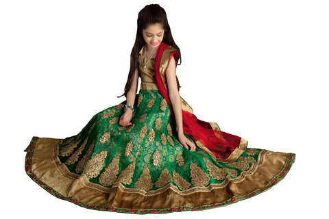 Girl's Bottle Green Net Fabric Striking Unstitched Lehengha Choli In Traditional Look