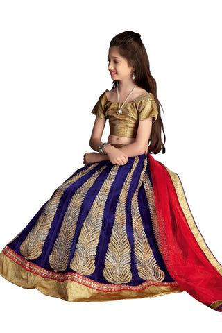 Girl's Royal Blue Net Fabric Striking Unstitched Lehengha Choli In Traditional Look