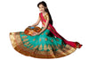 Girl's Greenish Blue Net Fabric Striking Unstitched Lehengha Choli In Traditional Look
