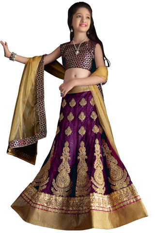 Girl's Purple Satin Fabric Striking Unstitched Lehengha Choli In Traditional Look