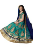 Girl's Greenish Blue Lycra Fabric Striking Unstitched Lehengha Choli In Traditional Look