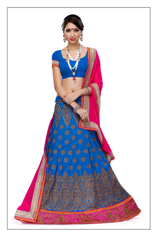 Women's Silk Fabric & Blue Pretty A Line Lehenga Style