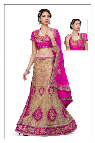 Women's Satin Fabric & Brown Pretty Unstitched Lehenga Choli