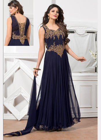 Net Fabric Blue Color Readymade Gown