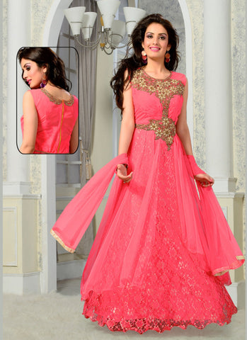 Net Fabric Pink Color Readymade Gown