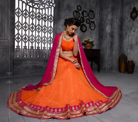 Women's Net Fabric & Orange Pretty Circular Lehenga Style