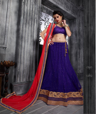 Women's Blue Pretty A Line Lehenga Choli