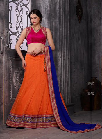 Women's Orange Pretty A Line Lehenga Choli