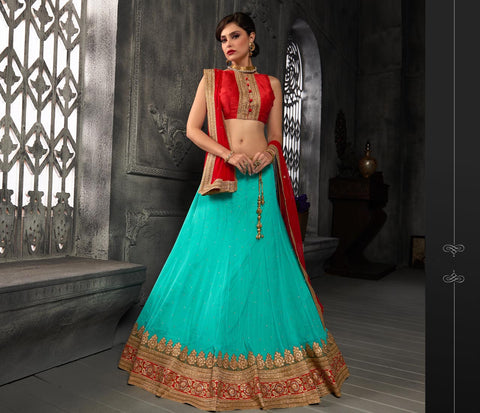 Women's Green & Net Fabric Pretty Unstitched Lehenga Choli